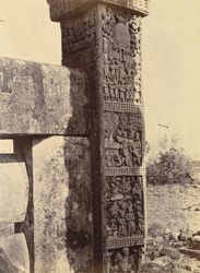 Close view of sculptured panels on the North Gateway of the Great Stupa, Sanchi, Bhopal State